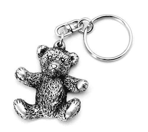 Hoardersworld Teddy Bear Key-ring (keychain) in Fine English Pewter, Handmade, (h)