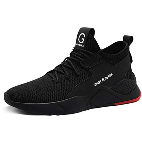 Ulogu Sicherheitsschuhe Herren Arbeitsschuhe Damen Leicht Atmungsaktiv Schutzschuhe Stahlkappe Sneaker Wanderschuhe 42 EU Schwarz#4