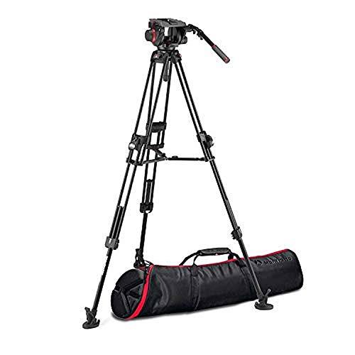 Manfrotto FastTripod, Testa Per Treppiede Video Fluida 509 con Treppiede Video 645 Fast Twin in Alluminio, Kit Pro per DSLR, Reflex, Camcorder, Cavalletto per Videocamera e Fotocamera, Portata 13kg