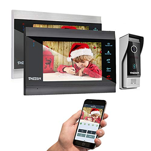 TMEZON Wireless Wifi Smart IP Video Door Phone Intercom System Doorbell Entry 2 Monitor 7 Inch with...
