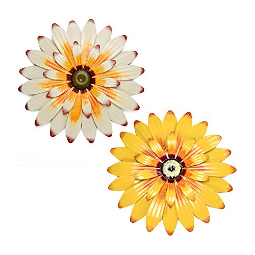 Yeahome 16'' Metal Flower Wall Decor - Wall Art Decorations Sunflower Decor Hanging for Bedroom, Living Room, Bathroom- Office/Home Decor Boho Art, Handmade Gift for Indoor or Outdoor (Daffodil & Buttermilk)