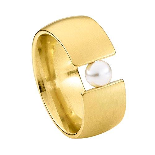 Heideman Ring Damen aus Edelstahl Gold farbend matt Damenring für Frauen mit Swarovski Perle Weiss rund 6mm