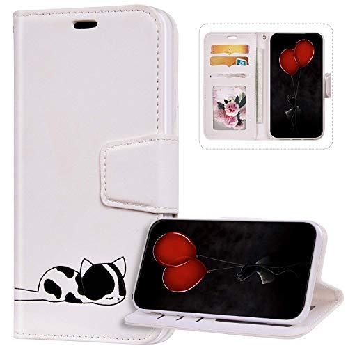 Funda Billetera Compatible con iPhone 6S Plus, Cuero de PU Cartera Folio Carcasa con Gato Diseño Cierre Magnético Soporte Antigolpes Libro Flip Piel Cubierta Protectora para iPhone 6 Plus,Blanco