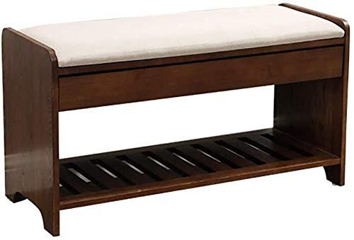 Wddwarmhome Zapatero de bambú para zapatos, banco de madera maciza, taburete de almacenamiento, cajón oculto, 80 x 32 x 43 cm (color: A)
