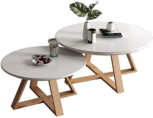 GGCG Moderne runde Couchtische aus Holz vom Couchtisch Side of The Nesting Beistelltische mit dem Holztisch, Designermöbel von Nordic (Size : Medium)