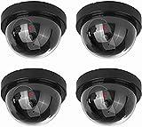 NONMON 4X Cámara Falsa,Dummy Cámaras Simuladas de Seguridad Vigilancia CCTV con LED Parpadeante Sistema,Protección Exterior Interior,para Hogar Oficina,Negro