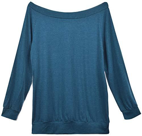 Yuson Girl Casual CamisetasMangaLargaMujer CamisaMujer Fuera del Hombro RopadeMujer Sexy Suelto Mujer Ocasionales Flojas Atractiva Elegante Moda (Azul Oscuro,M)
