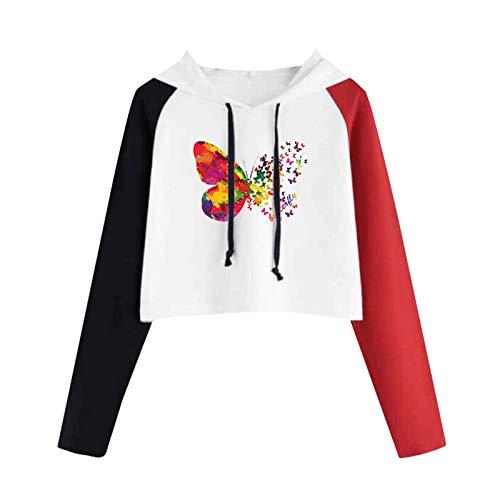 Sudadera con capucha para mujer, con estampado de mariposas, color raglán, manga larga, con cordón, ligera, para mujer