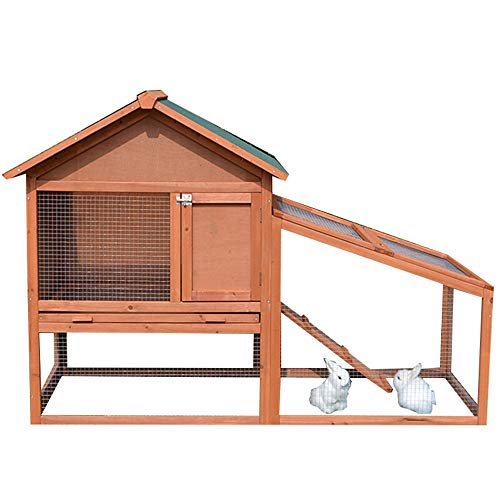 JIAGU Outdoor Kennel Warm And Comfortable Large Outdoor Rabbit Hutch Small Animal Cage Playpen Guinea Pig House With Ladder For Small Animals (Color : Red, Size : 143X65X100CM)
