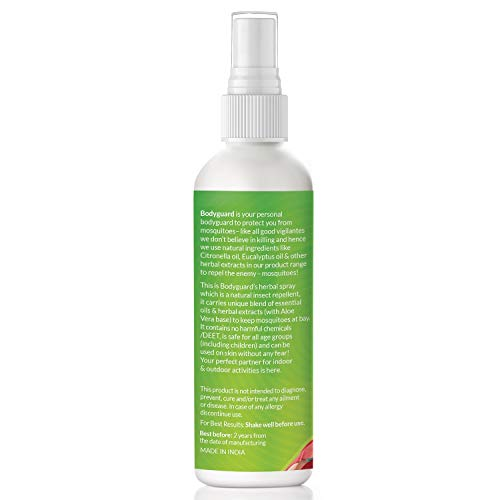 BOD GUARD Bodyguard Spray répulsif anti-moustiques à base de plantes aux huiles essentielles et extraits d'aloe vera 100 ml