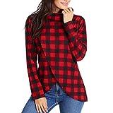 TWGONE Tartan Panel Long Sleeve Asymmetrical T-Shirt Red Plaid Cowl Neck Wrap Style Sweatshirt Pollover Blouse (X-Large,Red)
