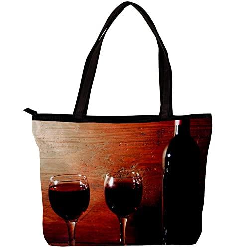 LORVIES - Bolso bandolera para mujer, copas de vino tinto, bolso de mano para niñas