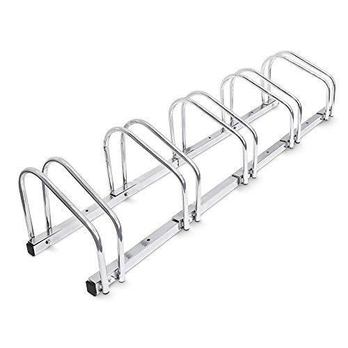 BAKAJI Rastrelliera per Biciclette da Pavimento o Parete Stand Parcheggio Esterno per Bici in Acciaio Porta Bici con Materiale di Montaggio Incluso (5 Posti)