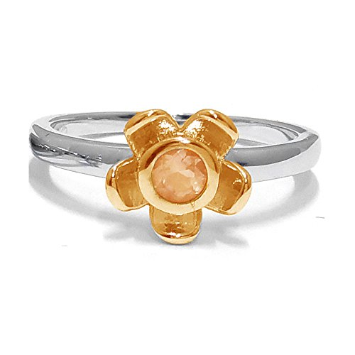 El joyero de anillo de no me olvides de florista & # 10047; & # 10047; Naranja citrino & # 10047; Oro Rosa