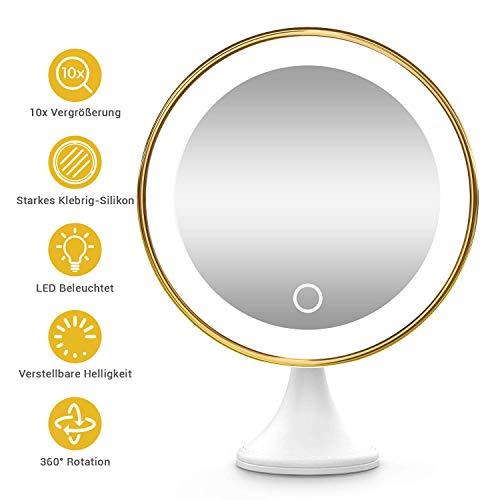 BEQOOL Kosmetikspiegel 10x Vergrößerungsspiegel kosmetikspiegel beleuchtet und 3 Helligkeitsstufen Starkem klebrig-Silikon Starkem Saugnapf 360°schwenkbar Make-up Spiegel