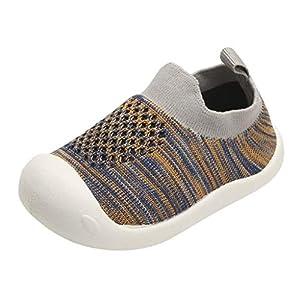 YWLINK NiñOs NiñAs Rayas Malla Deporte Zapatillas Deportivas Calzado Informal Transpirable Antideslizante Comodidad Inferior Suave Fiesta De CumpleañOs Zapatos De Primer Paso Regalo(Gris,15EU)
