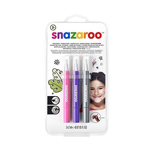 Snazaroo - Set de 3 rotuladores de maquillaje fantasía, color rosa, violeta, plata , color/modelo surtido