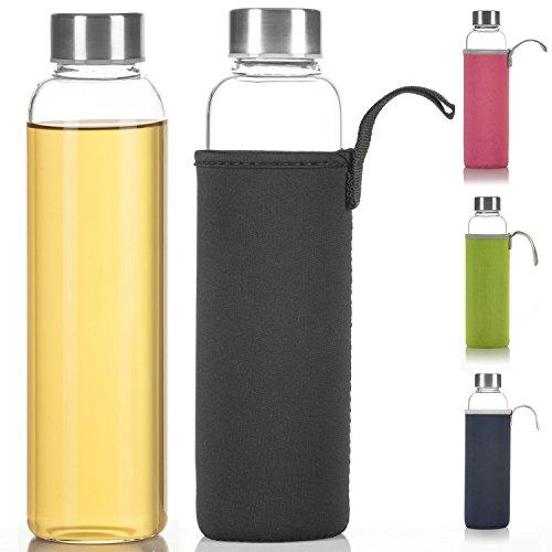 Dimono Classic Trinkflasche aus Glas 600ml - Sport Glasflasche Wasser-Flasche; bruchsicher mit isolierender Nylon Thermo-Hülle - Schwarz