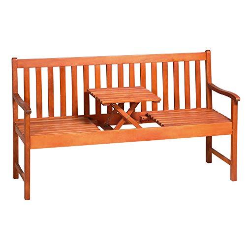 Deuba Gartenbank Picknick Tisch FSC®-zertifiziertes Eukalyptusholz hochklappbarer Tisch Holzbank Sitzbank Garten Bank Möbel