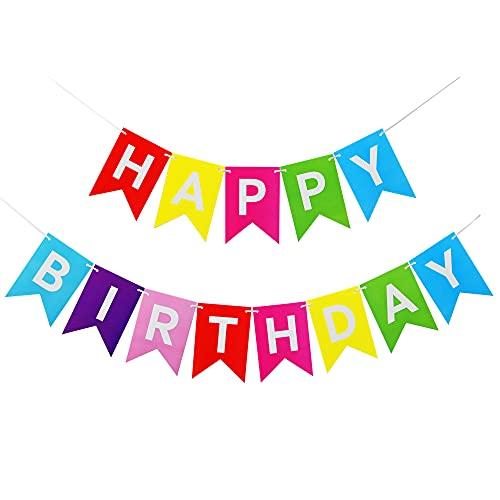 Guirnalda de cumpleaños con texto 'Happy Birthday', 2 unidades, decoración para bricolaje, reutilizable, papel multicolor, guirnalda de cumpleaños arcoíris para niñas, niños, adultos