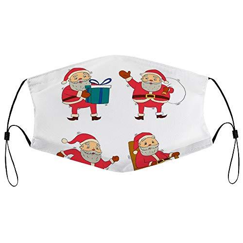 DKISEE - Máscara de protección para el polvo unisex con elemento de filtro ajustable para la oreja (colección de personajes de Papá Noel dibujado a mano)