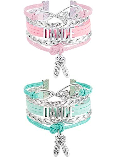 Chuangdi 2 Pieces Dance Bracelet Girls Dance Jewelry Pointe Shoe Ballet Bracelet Gift for Dance Recitals, Dancers and Dance Teams (Pink and Green)