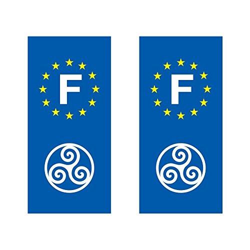 Lot de 2 sticker plaque immatriculation voiture logo régionaux Triskel