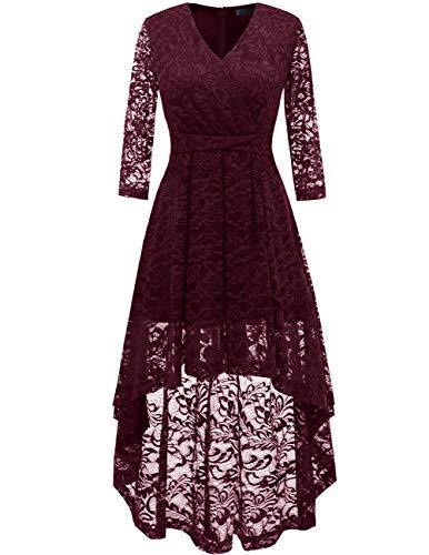 DRESSTELLS Abendkleider elegant Cocktailkleid Unregelmässig Spitzenkleid Vokuhila Floral Kleid, XXL, Burgundy