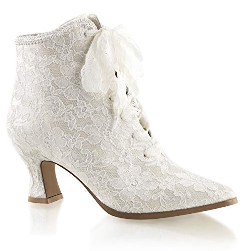 Higher-Heels Fabulicious Ankle-Booties Spitze Victorian-30 Elfenbein Gr.38