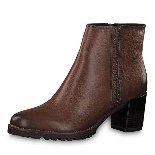 Tamaris Damen Stiefeletten 25941-33, Frauen Stiefelette, leger Stiefel Boot halbstiefel Damenstiefelette Bootie Nieten Damen,Cognac,37 EU / 4 UK