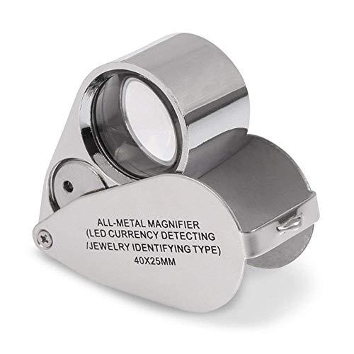 Lupa portátil 40x con 2 lámparas LED y UV para Monedas Valoración de Joyas Detector de Billetes Mini Lupa de Metal Plegable