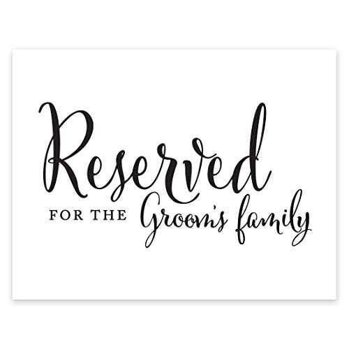 Andaz Press Wedding Party Signs, Formal Black and White, 8.5-inch x 11-inch, Reserved for The Groom's Family, 1-Pack