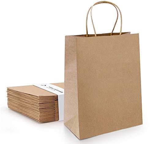 Anstore 24 Stück Papiertüten mit Henkel 21 * 11 * 27 cm,Geschenktüte, Partytüten mit Griff, Braune Kraftpapiertüte für Partybevorzugung, Verpackung, Anpassung, Tragen, Einzelhandel, Waren, Hochzeit