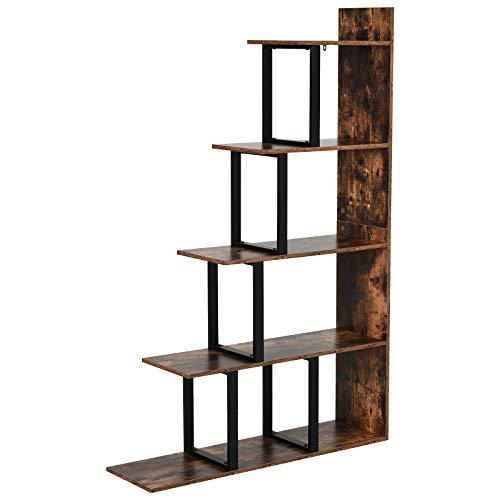 HOMCOM Bücherregal, Standregal, Wohnzimmerregal, Spielzeugregal, Holz, Metall, Rustikales Braun, 102 x 30 x 160 cm