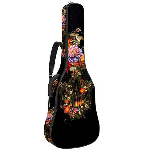 Funda para guitarra eléctrica acústica con diseño de calavera y flor de...