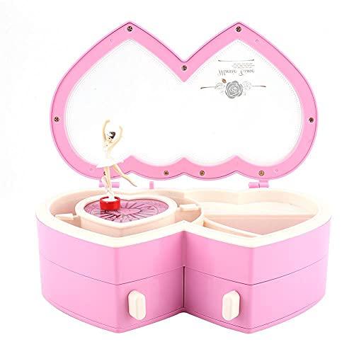 NFRADFM Caja de música, caja de música de doble corazón, caja de almacenamiento musical de bailarina, para niñas pequeñas, regalo de cumpleaños de Navidad