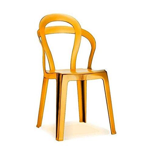 Lot de 4 chaises Tiì de Scab Design empilable, transparent orange