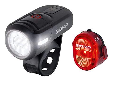SIGMA SPORT - LED Fahrradlicht Set Aura 45 und NUGGET II | StVZO zugelassenes, akkubetriebenes Vorderlicht und Rücklicht