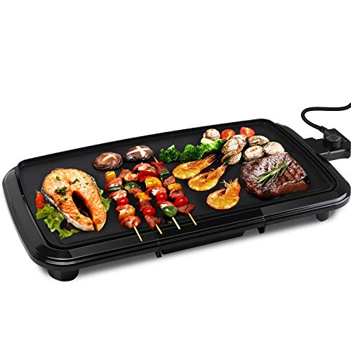 Raclettes,Teppanyaki Tischgrill elektrisch,Antihaftende Grillplatte,1800W,Verstellbarer Temperaturregler,Fettauffangschale.