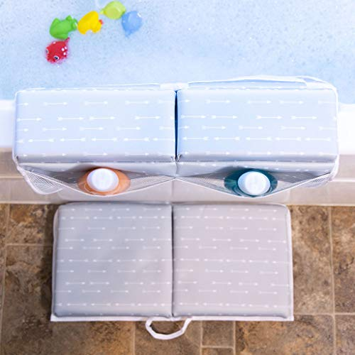 Bath Kneeler with Elbow Rest Pad Set | 1.75 inch Thick Kneeling Pad and Elbow Support for Knee & Arm Support | Large Bathtub Kneeling Mat with Toy Organizer for Happy Baby Bathing Time