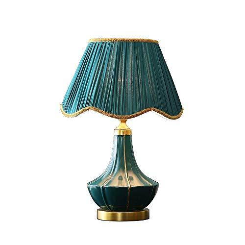 TDJJZHXYP Lámpara de Mesa de cerámica de Cobre, lámpara de Noche para Dormitorio, lámpara Decorativa cálida, lámpara de Mesa de Estudio para Sala de Estar