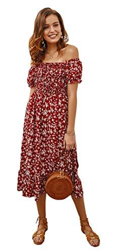 Aswinfon Vestido a Media Pierna de Mujer Vestidos de Verano de una línea Hombros Descubiertos Sexy Manga Corta Vestido Bohemio (Rojo Oscuro, M)