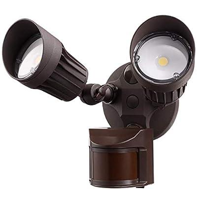 LEONLITE Dual-Head/3-Head Motion Activated LED Outdoor Security Light, Photo Sensor, Bronze/White, 3000K/5000K