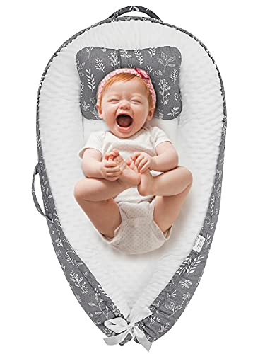 Baby Nest Baby Lounger for Newborn Co Sleeper Bassinet Bed Portable Crib for Infant Leaves Printed