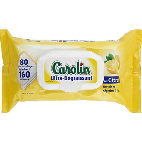 Carolin Lingettes ultra-dégraissantes au citron - Le paquet de 80