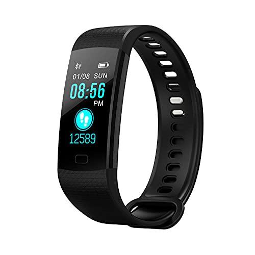 Yumanluo Reloj Inteligente Mujer Hombre,Pulsera Deportiva Bluetooth, monitoreo de Salud en Tiempo Real-Negro,Pulsera de Actividad Inteligente Reloj Deportivo