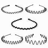 ANZOBEN カチューシャ ヘアバンド メンズ レディース 男女兼用 髪留め ヘアアクセサリー 5本セット 黒 01