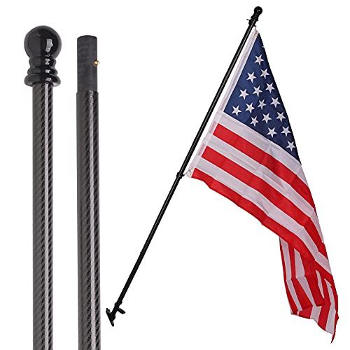 YLMGO 6ft Flag Pole kit with 3x5 American Flag for House Porch,5FT Heavy Duty Carbon Fiber Black Flag Pole for Truck,Tangle Free flagpole kit for Outside,Wall Mount Flags Pole kit with Bracket