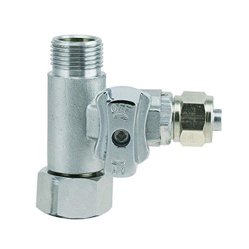 """T-Stück 3/8 IG x3/8 AG x3/8\"""" Schlauch (9,5mm) Wasseranschluß m. Absperrhahn Adapter zum Anschluss von 2 Geräten"""