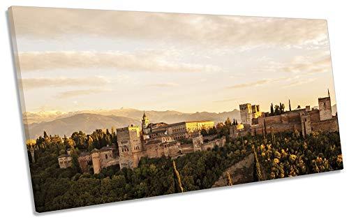 Canvas Geeks Cuadro de Lienzo con diseño de Alhambra Granada en España, Color Beige, 80cm Wide x 40cm High
